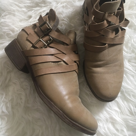 just fab Shoes - Tan strappy booties